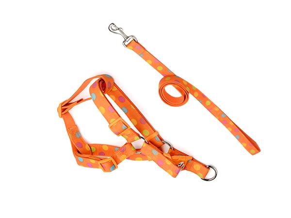 拉绳胸背带套装 布艺橘色
